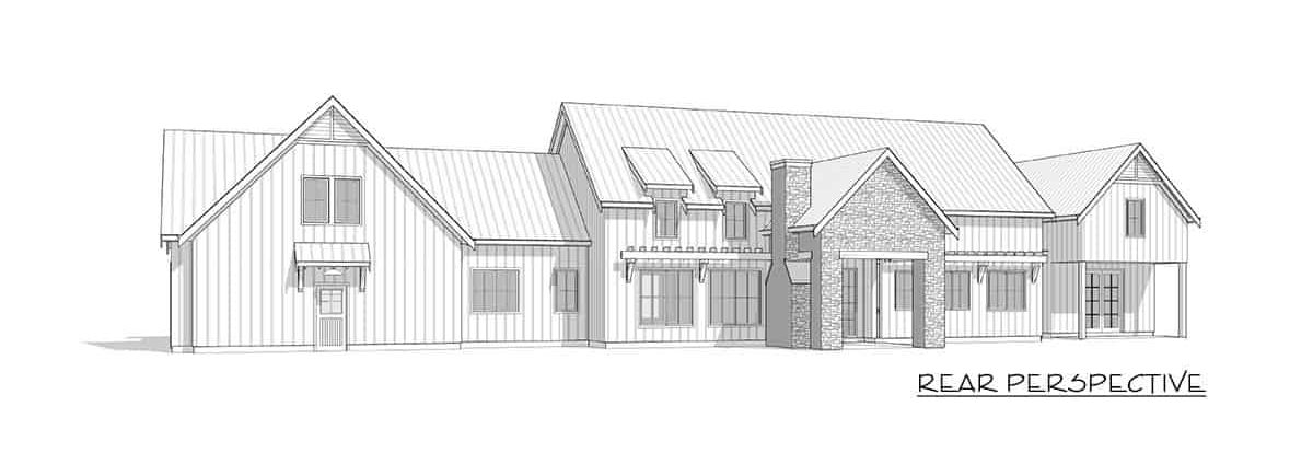 Rear perspective sketch of the two-story 3-bedroom modern farmhouse.
