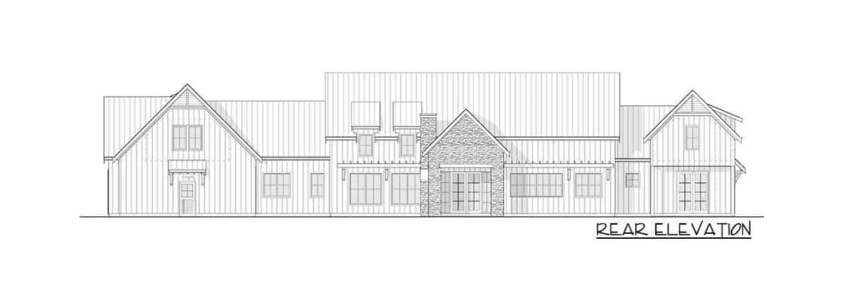 Rear elevation sketch of the two-story 3-bedroom modern farmhouse.