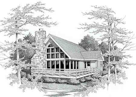 Front perspective sketch of the two-story 3-bedroom IRIS beach home.