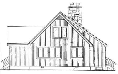 Rear elevation sketch of the two-story 3-bedroom IRIS beach home.