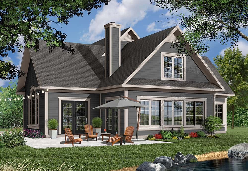 Rear rendering of the two-story 3-bedroom Journey's Edge country home.