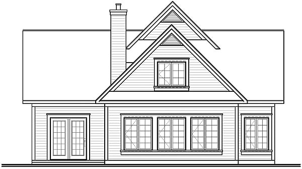 Rear elevation sketch of the two-story 3-bedroom Journey's Edge country home.
