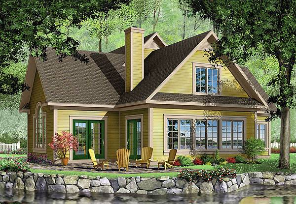 Rear perspective sketch of the two-story 3-bedroom Journey's Edge country home.