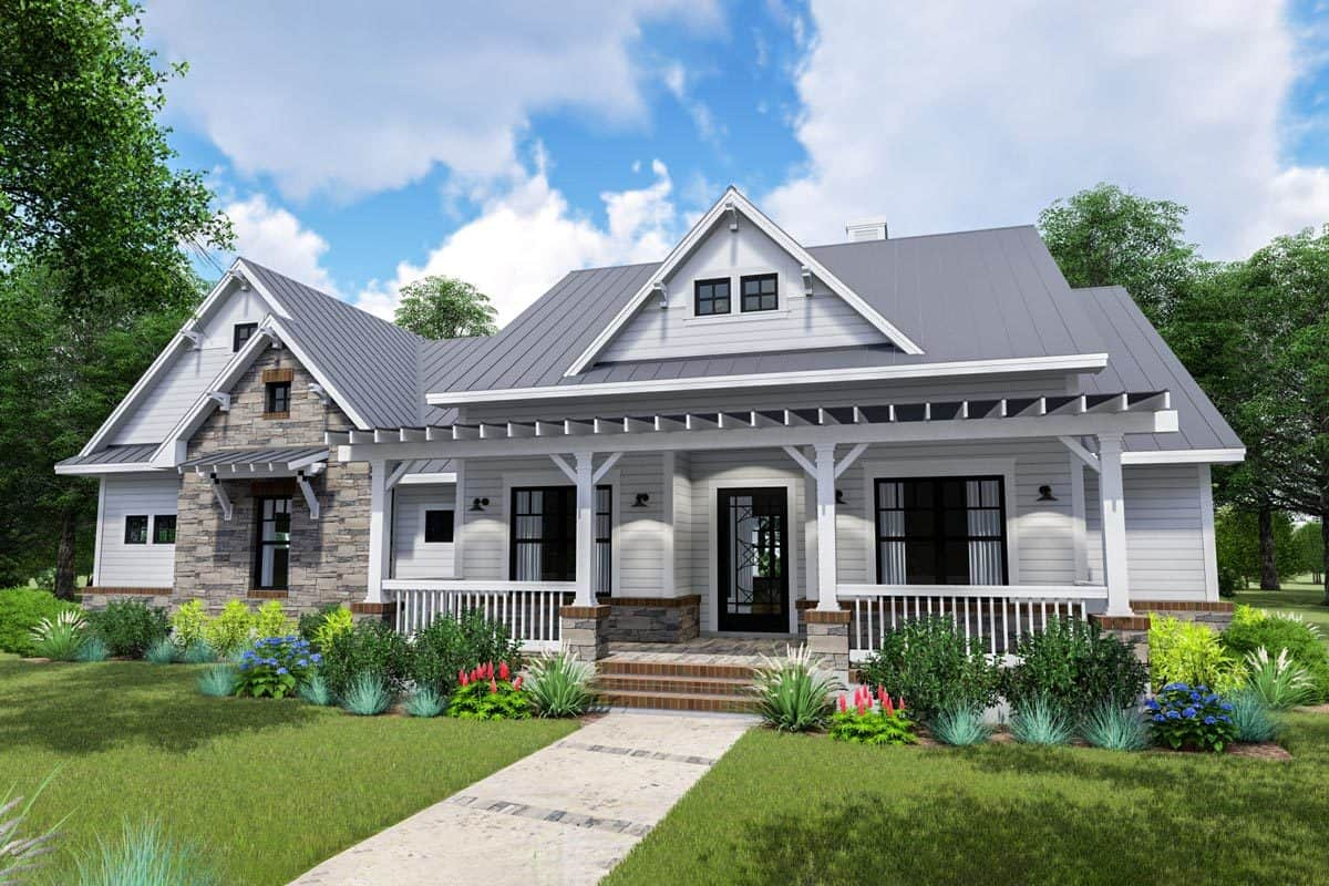Two-Story 3-Bedroom Modern Farmhouse with Side-Load Garage and Bonus Room