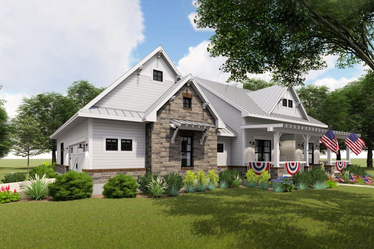 Front-left rendering of the two-story 3-bedroom modern farmhouse.