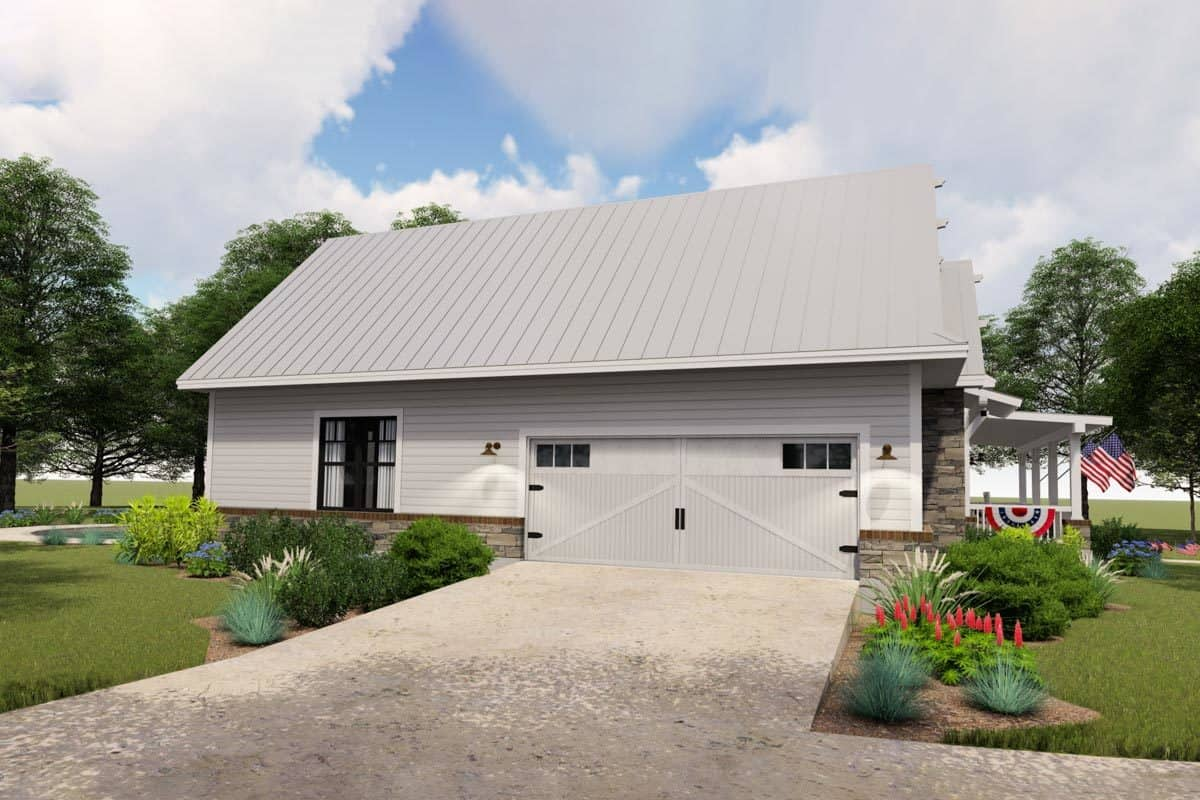 Left rendering of the two-story 3-bedroom modern farmhouse.