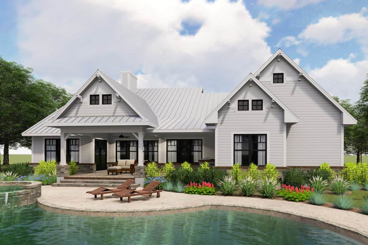 Rear rendering of the two-story 3-bedroom modern farmhouse.