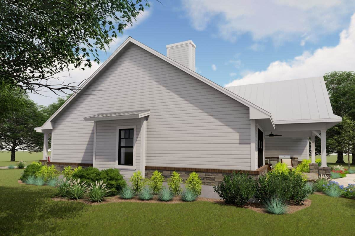 Right rendering of the two-story 3-bedroom modern farmhouse.