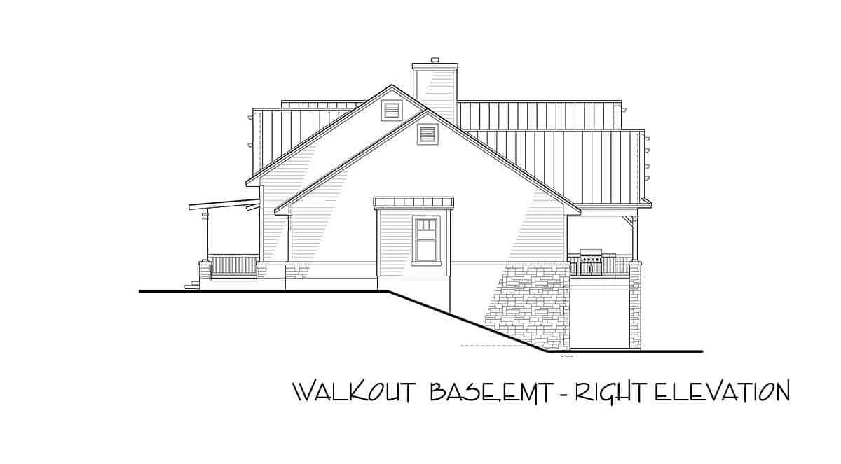 Right-walkout elevation sketch of the two-story 3-bedroom modern farmhouse.