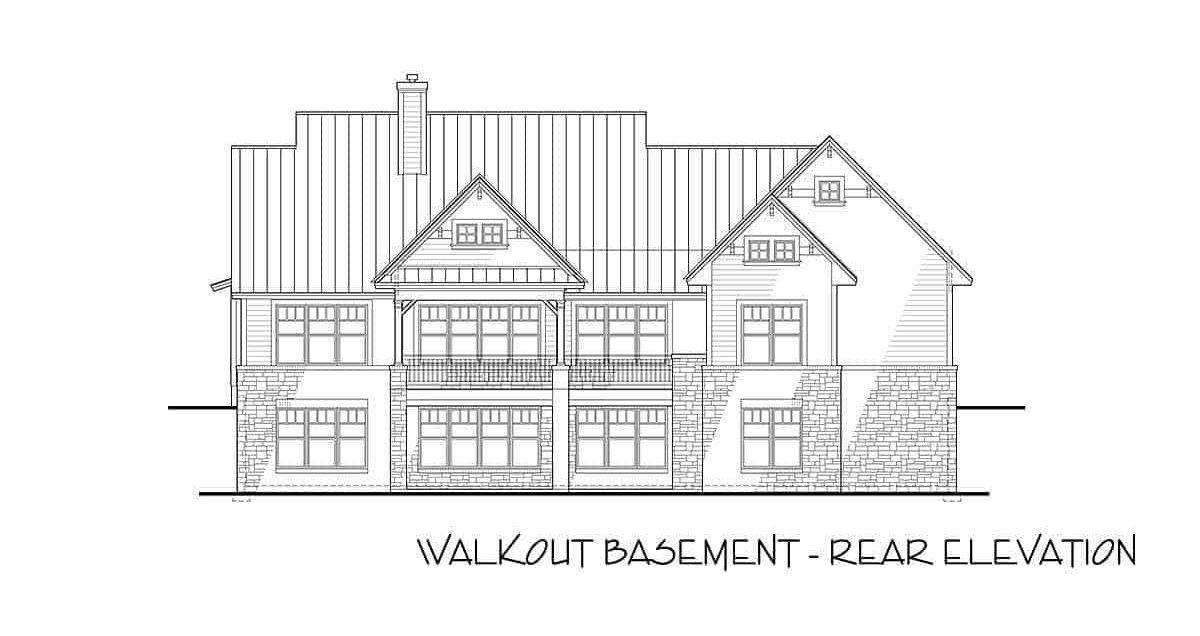 Rear-walkout elevation sketch of the two-story 3-bedroom modern farmhouse.