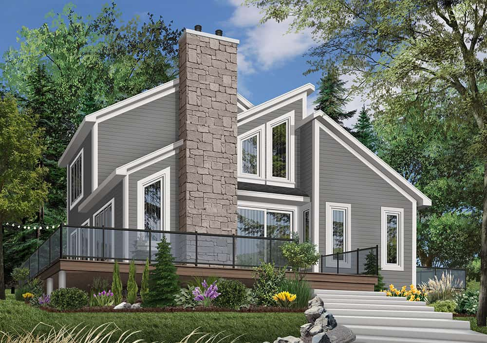 Front rendering of the two-story 3-bedroom The Interlock cottage.