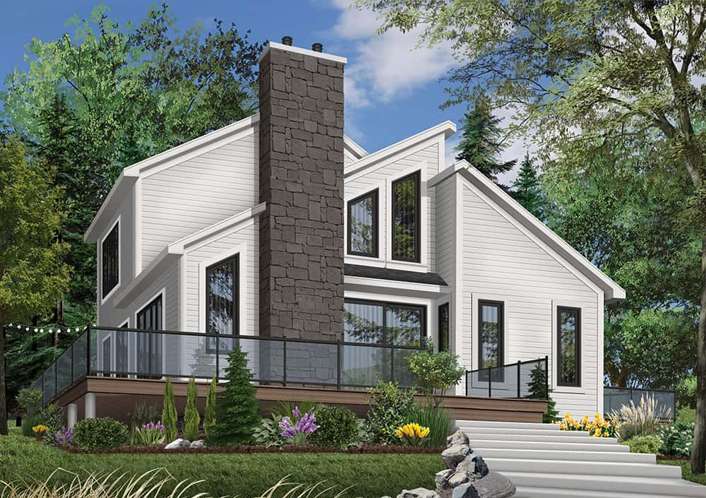 Front rendering of the two-story 3-bedroom The Interlock cottage with an alternate white exterior.