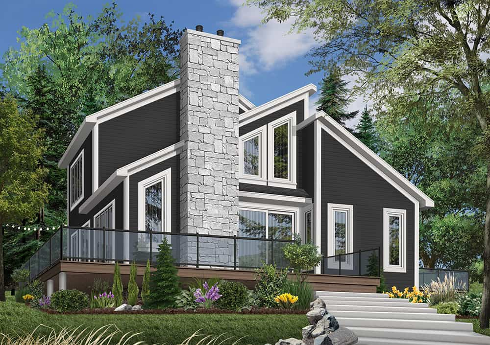 Front rendering of the two-story 3-bedroom The Interlock cottage with an alternate black exterior.