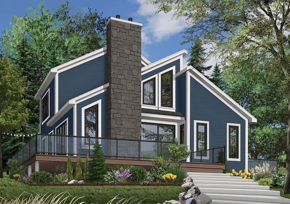 Front rendering of the two-story 3-bedroom The Interlock cottage with an alternate blue exterior.