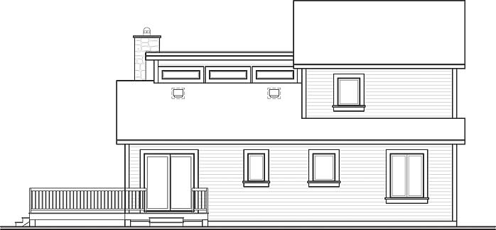 Rear elevation sketch of the two-story 3-bedroom The Interlock cottage.