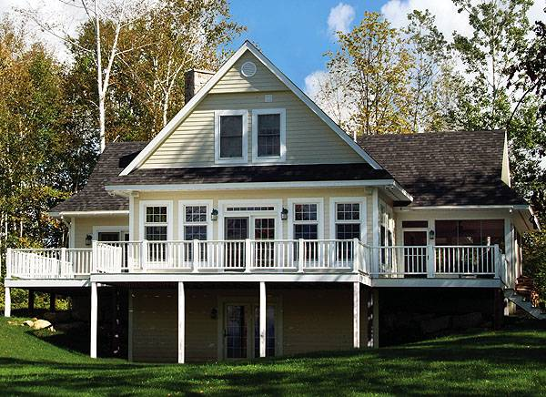 Two-Story 3-Bedroom The Pocono Cottage for a Sloping Lot
