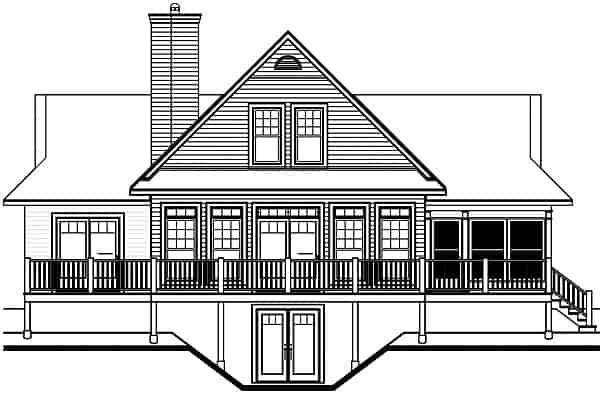 Rear elevation sketch of the two-story 3-bedroom The Pocono cottage.