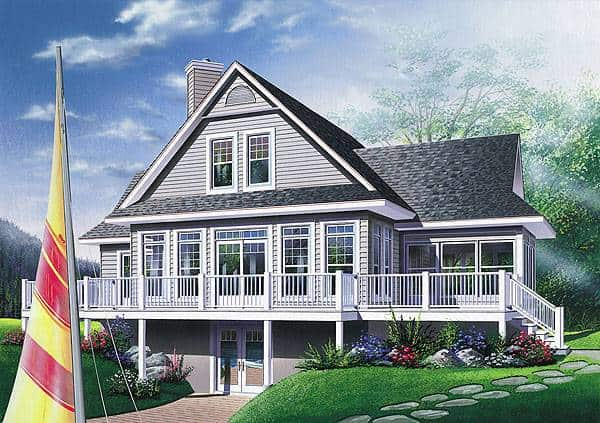 Rear rendering of the two-story 3-bedroom The Pocono cottage.