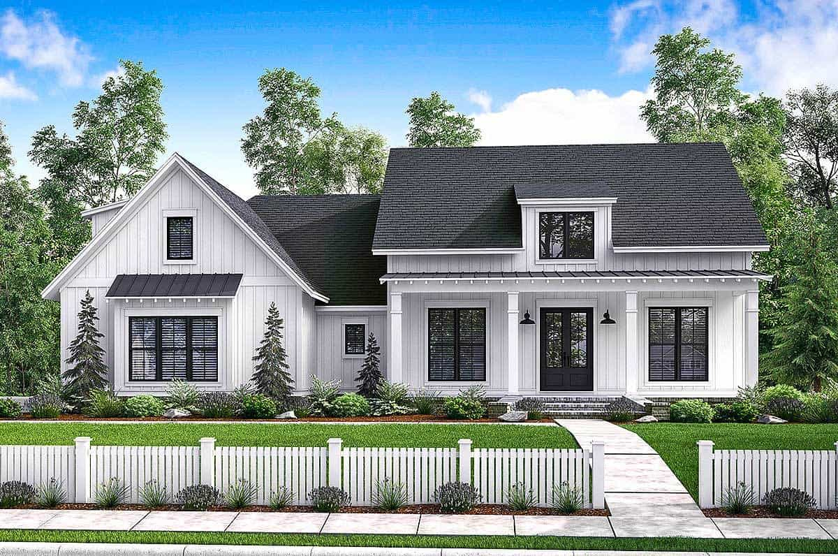 Front rendering of the two-story 4-bedroom modern farmhouse.