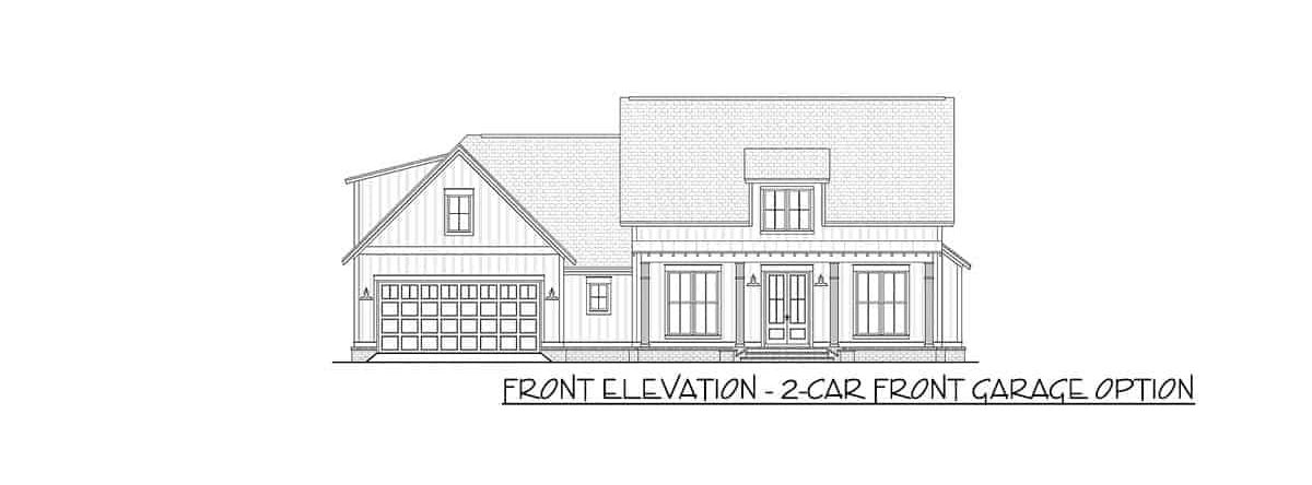 Front elevation sketch of the two-story 4-bedroom modern farmhouse.