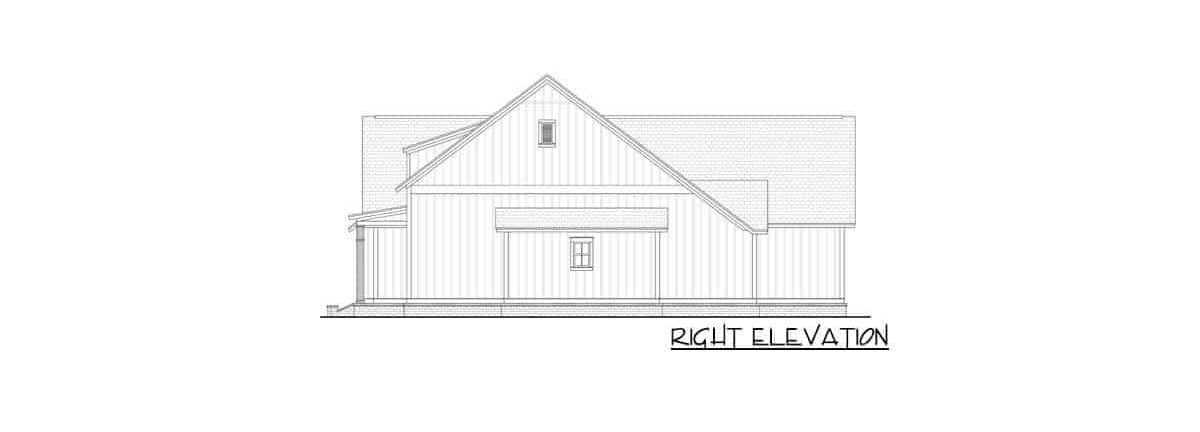 Right elevation sketch of the two-story 4-bedroom modern farmhouse.