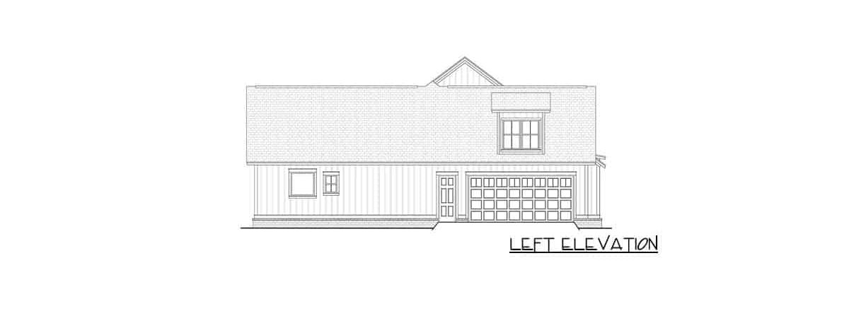 Left elevation sketch of the two-story 4-bedroom modern farmhouse.