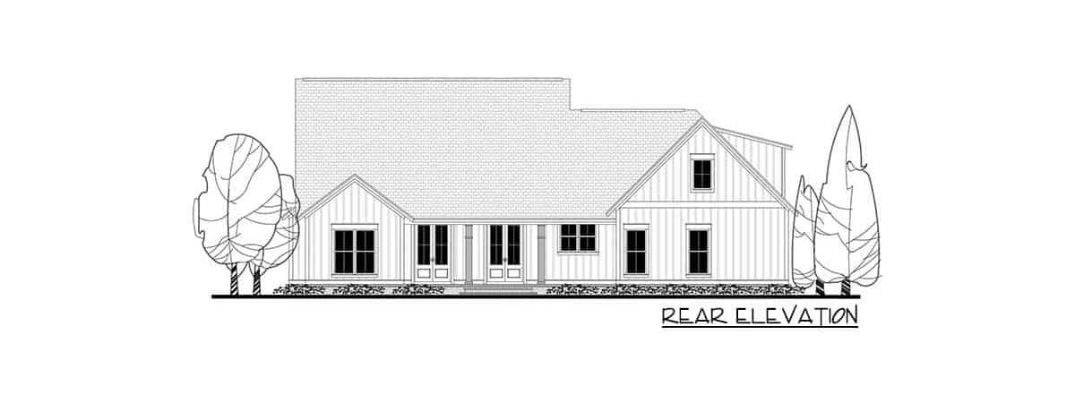 Rear elevation sketch of the two-story 4-bedroom modern farmhouse.
