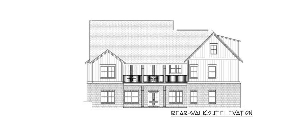 Rear walkout elevation sketch of the two-story 4-bedroom modern farmhouse.