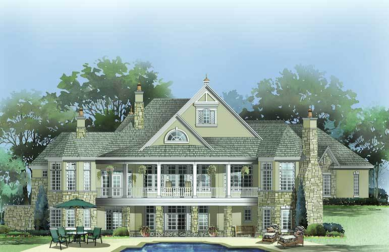 Rear rendering of the two-story 4-bedroom European style The San Martino home.