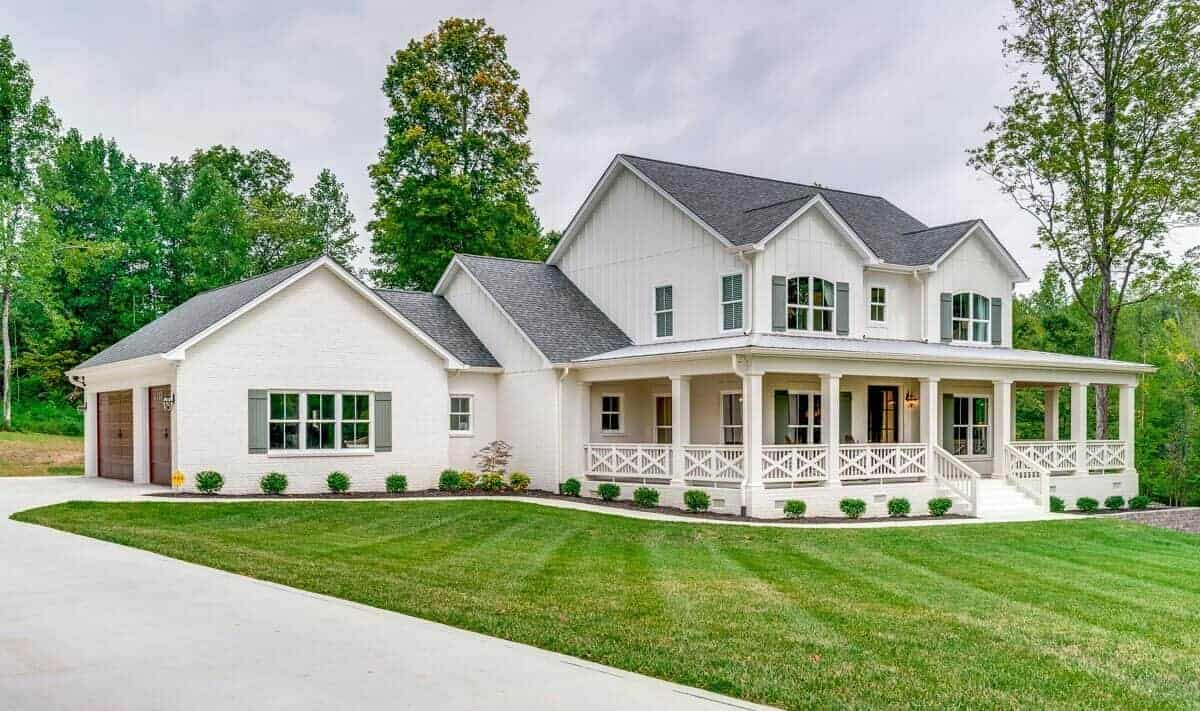 Two-Story 4-Bedroom Expanded Farmhouse with Wraparound Porch