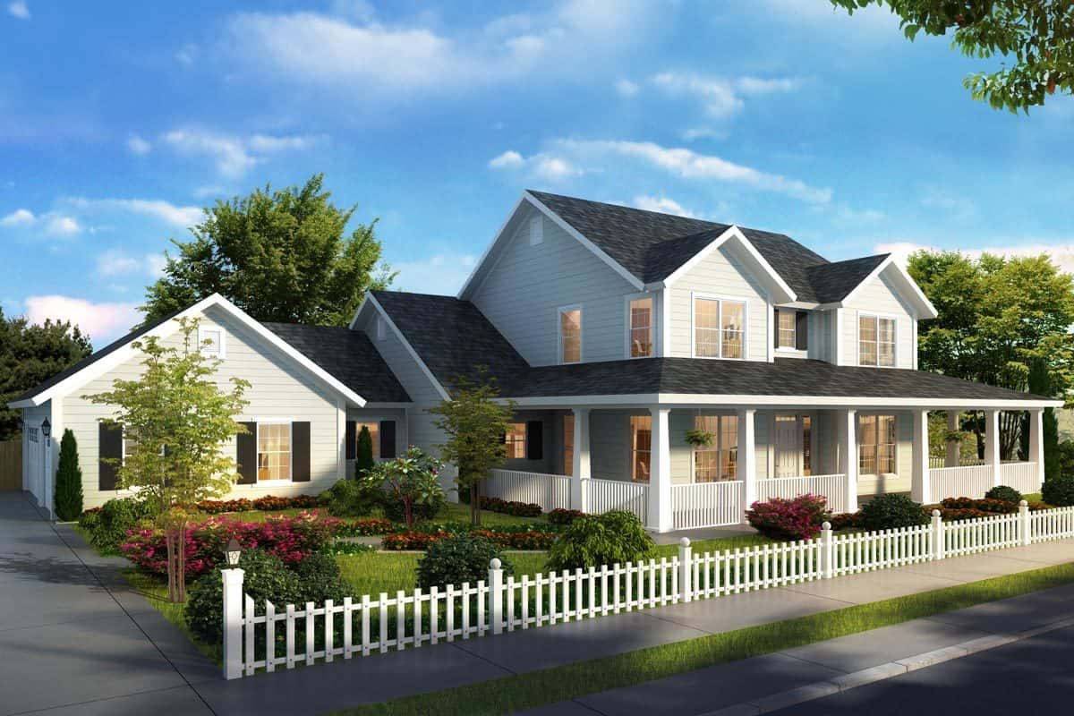 Front rendering of the two-story 4-bedroom expanded farmhouse.