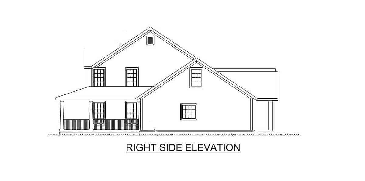 Right elevation sketch of the two-story 4-bedroom expanded farmhouse.