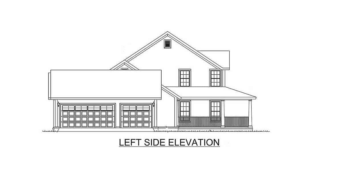 Left elevation sketch of the two-story 4-bedroom expanded farmhouse.