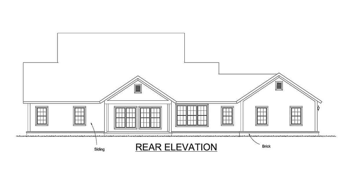 Rear elevation sketch of the two-story 4-bedroom expanded farmhouse.
