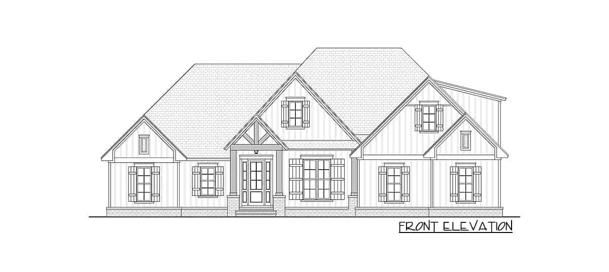 Front elevation sketch of two-story 4-bedroom New American home.