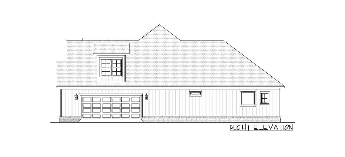 Right elevation sketch of two-story 4-bedroom New American home.