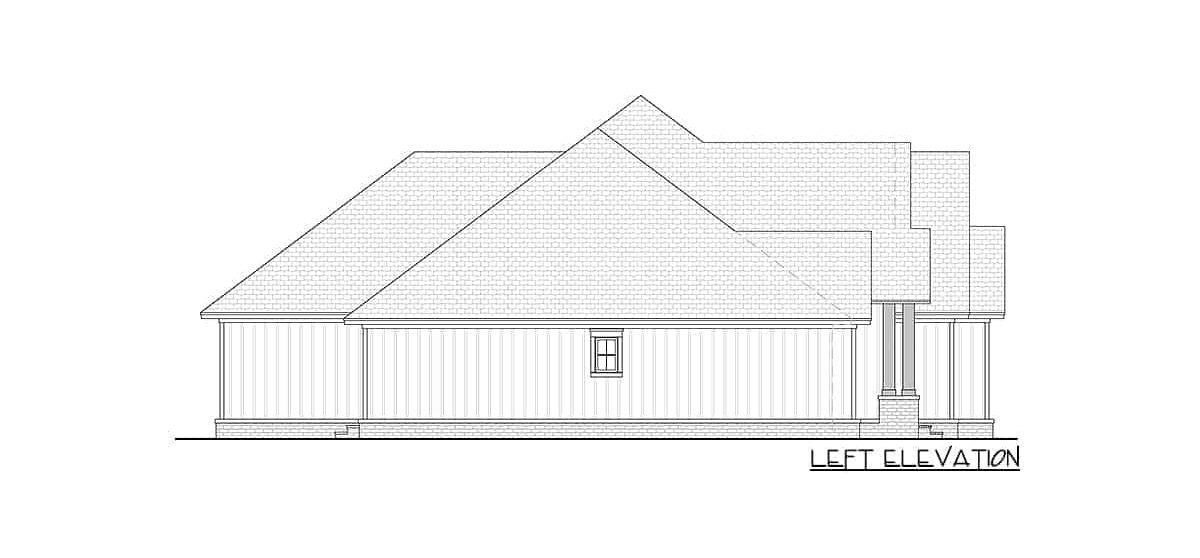 Left elevation sketch of two-story 4-bedroom New American home.