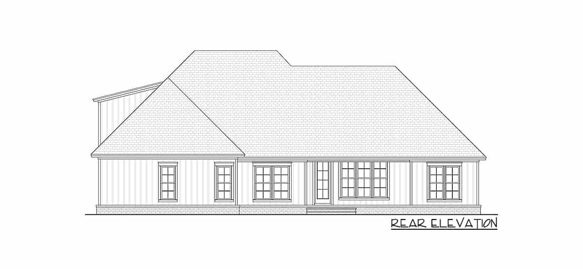 Rear elevation sketch of two-story 4-bedroom New American home.