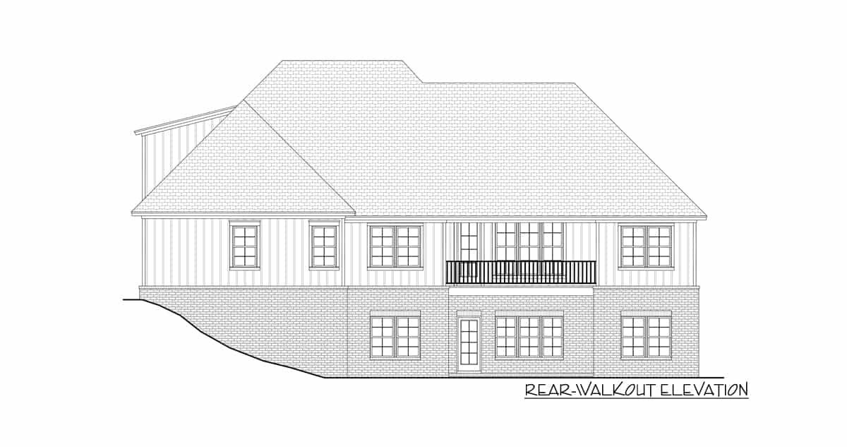 Rear-walkout elevation sketch of two-story 4-bedroom New American home.