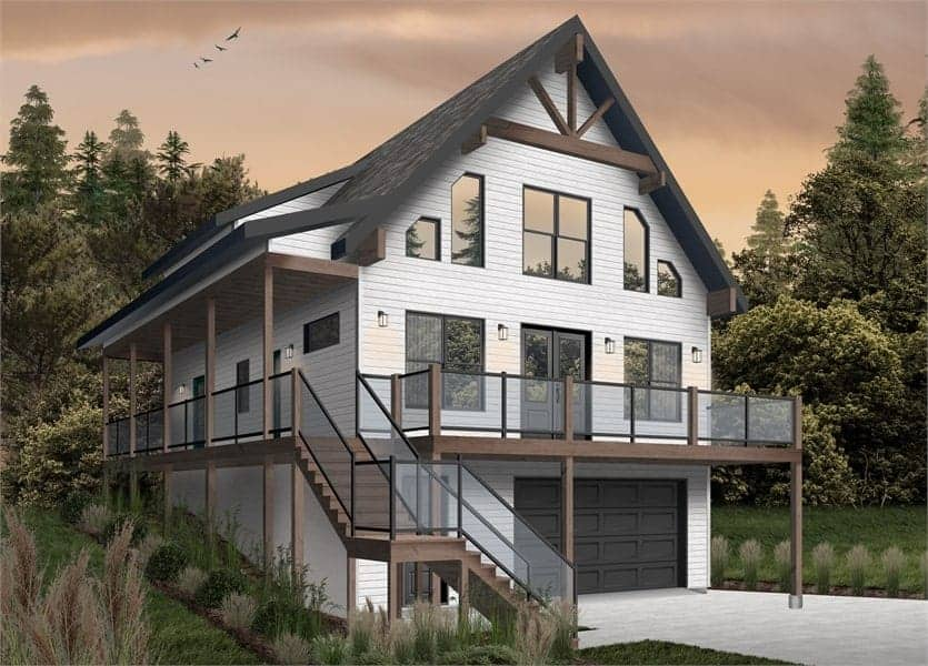Two-Story 4-Bedroom The Laurentien Rustic Lake Style Home with Wraparound Porch