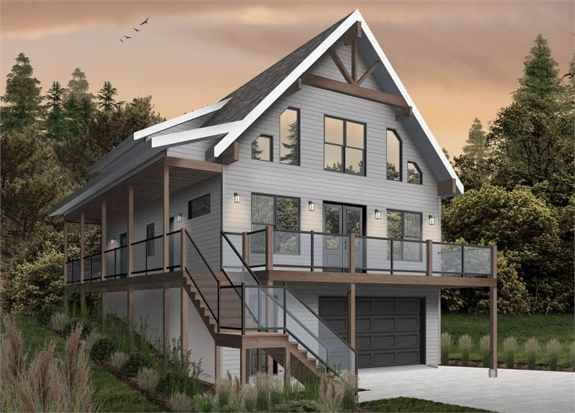 Front rendering of the two-story 4-bedroom The Laurentien rustic lake style home.