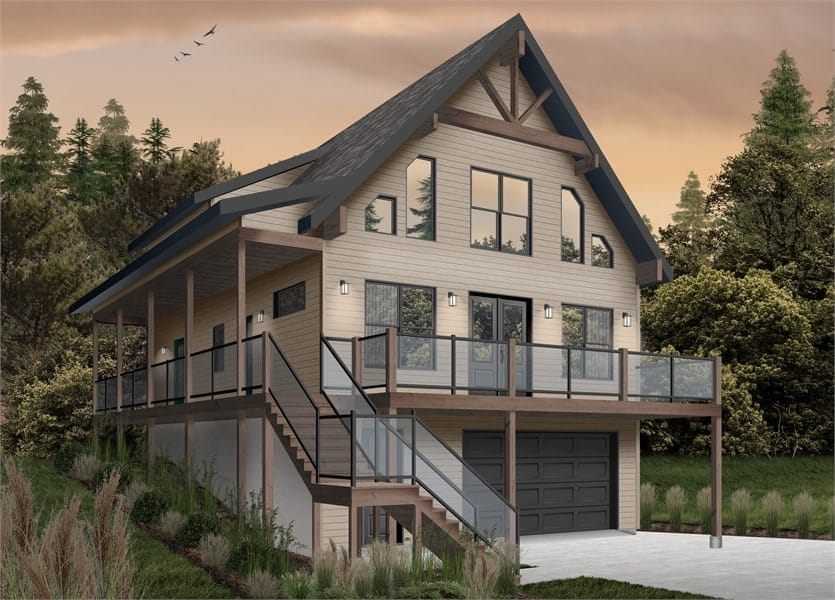 Front rendering of the two-story 4-bedroom The Laurentien rustic lake style home with a brown alternate exterior.