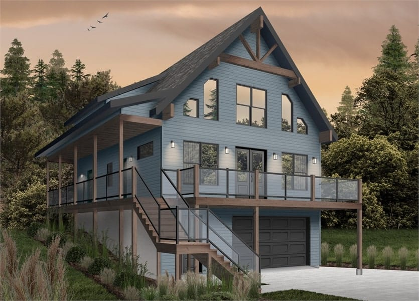 Front rendering of the two-story 4-bedroom The Laurentien rustic lake style home with a blue alternate exterior.