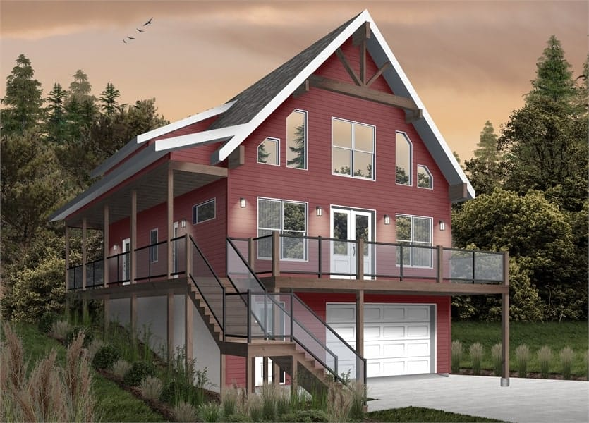 Front rendering of the two-story 4-bedroom The Laurentien rustic lake style home with a red alternate exterior and white doors.
