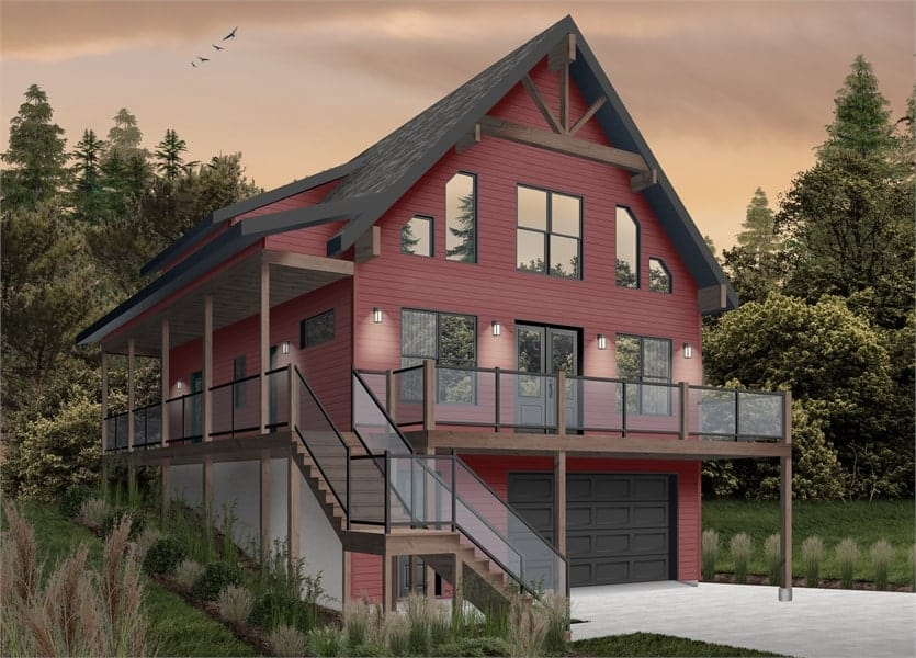Front rendering of the two-story 4-bedroom The Laurentien rustic lake style home with a red alternate exterior.