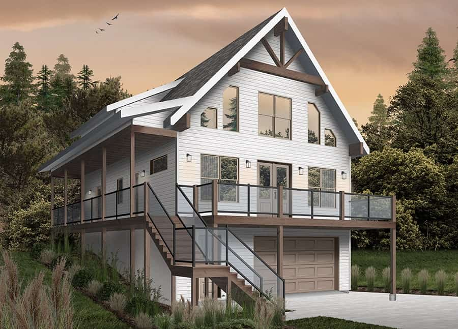 Front rendering of the two-story 4-bedroom The Laurentien rustic lake style home with a white alternate exterior.