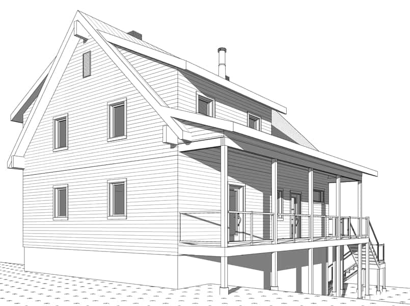 Rear rendering of the two-story 4-bedroom The Laurentien rustic lake style home.