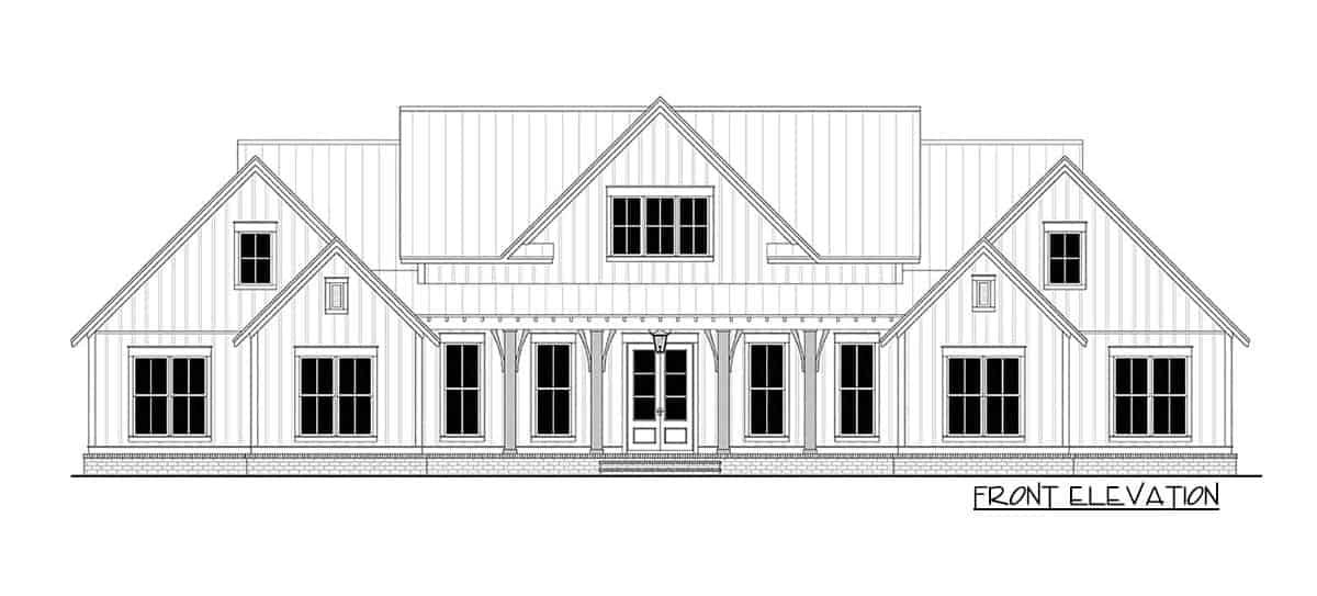 Front elevation sketch of the two-story 5-bedroom modern farmhouse.