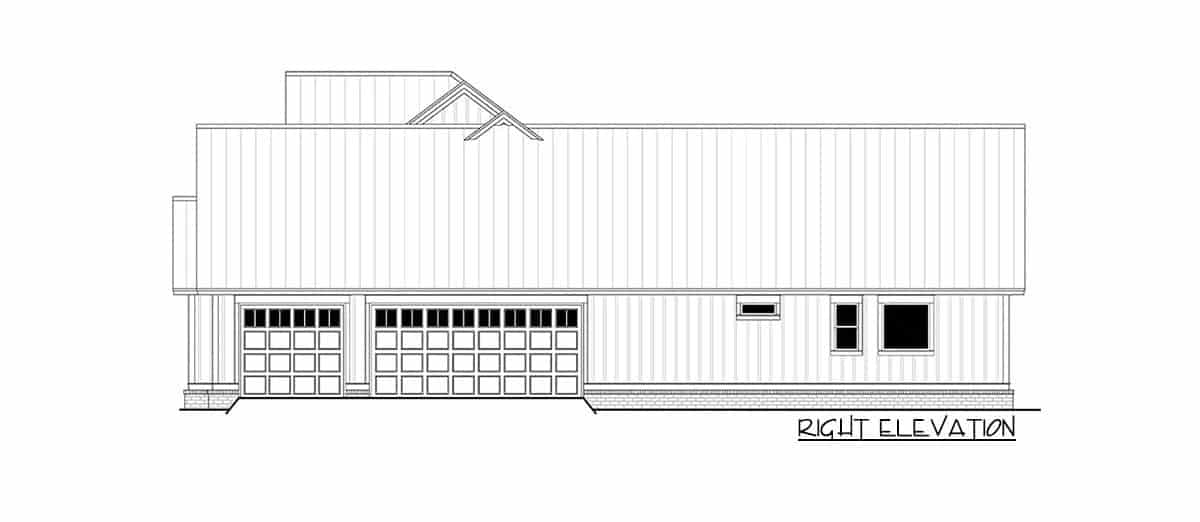 Right elevation sketch of the two-story 5-bedroom modern farmhouse.