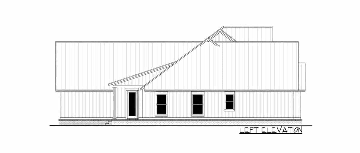 Left elevation sketch of the two-story 5-bedroom modern farmhouse.